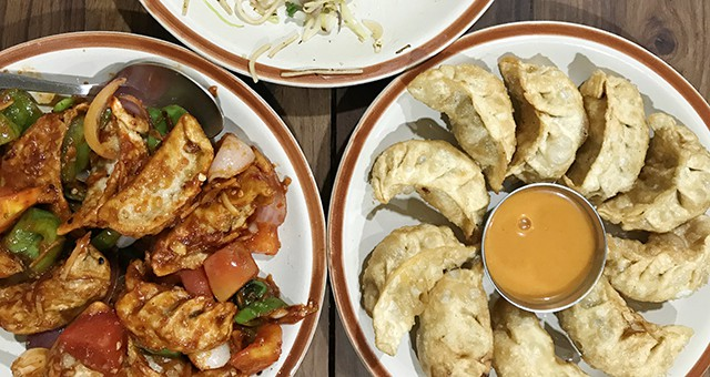chilli chicken and vegetarian momo in Nepal