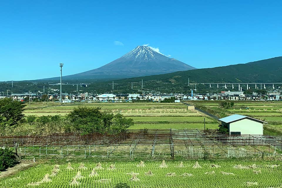 Tokyo to Osaka bullet train view of Mt Fuji