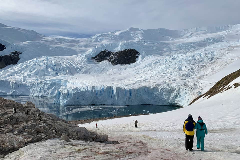 View glacier calving at Neko harbour Antarctica