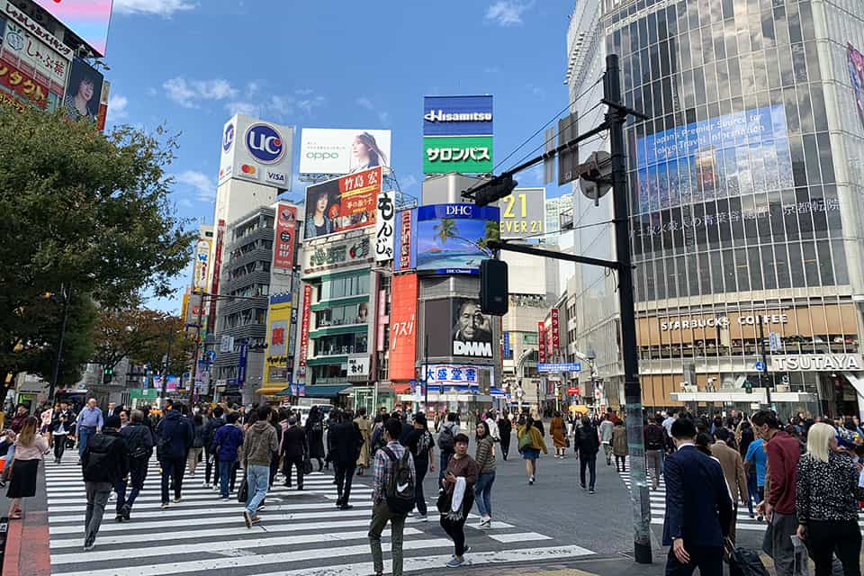 The world's busiest street crossing in Shibuya Tokyo
